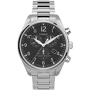 Timex メンズステンレススチールストラップtw2t70300とクォーツ時計をクロノグラフ 銀/黒