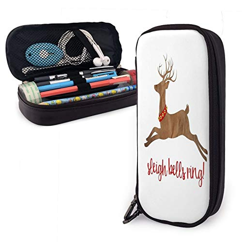 Sleigh Bells Ring Christmas Reindeer Pu Leather Pencil Case with Zipper Closure Big Capacity Carrying Case for School Office