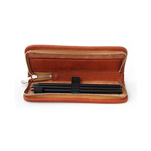 Edles Federmäppchen Kluge aus echtem Leder in Natur - Stifte Etui als perfekter Organizer für Stifte auf dem Schreibtisch oder in der Handtasche - hochwertig in Deutschland gefertigte Federtasche