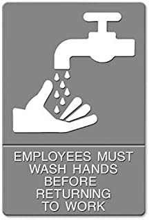 ADA Sign, EMPLOYEES MUST WASH HANDS... Tactile Symbol/Braille, 6 x 9, Gray, Sold as 1 Each by U.S. Stamp & Sign Products