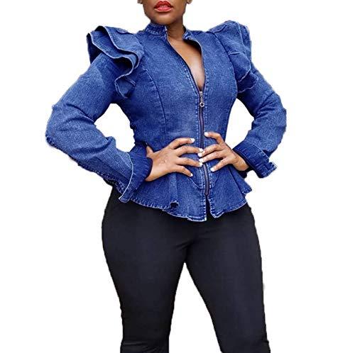 ECHOINE Women's Casual Denim Jacket - Long Sleeve Zip Ruffle Shoulder Jean Jackets Peplum Coat Plus Size Blue S