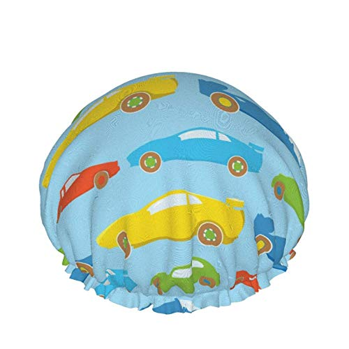Gorro de ducha, gorro de baño de coche de carreras de dibujos animados coloridos diseñado para mujeres Forro de Peva de doble capa impermeable