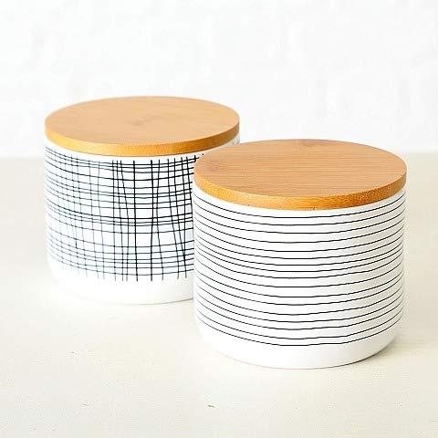 BHC Vorratsdose Set Stripes schwarz weiß mit Holzdeckel Bambusdeckel Streifen Keramik Aufbewahrungsdose Kaffeedose Teedose ausgefallen modern Keramikdose