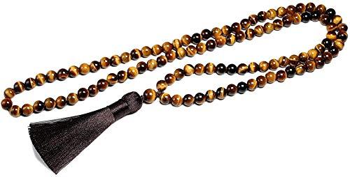 Collar para mujeres hombres, grado natural, 8 mm, piedra de ojo de tigre y ónix negro brillante, collar de cuentas, 108 joyas de cuentas, pulsera de oración de Buda, mujeres, hombres, collar colgant