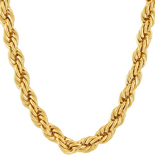 LIFETIME JEWELRY 7mm Rope Chain Necklace 24k Real Gold Plated for Men and Women (Gold, 30)