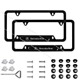 2Pack Stainless Steel License Frame with for Mercedes-Benz,with Screw Caps Cover Set-black (Mercedes-Benz)