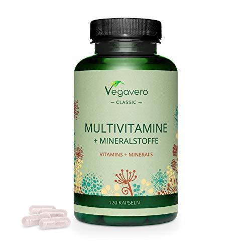 MULTIVITAMIN KAPSELN Vegavero ® | Immunabwehr & Energie* | HOCHDOSIERT | Wichtige A-Z Vitamine & Mineralien | B Vitamine, Eisen, Jod & Co | Ohne Zusatzstoffe | Laborgeprüft | | 120 Kapseln