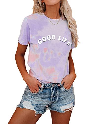 YOINS Damen T-Shirt Kurzarm Top Casual Rundhals Sommer Oberteile Cold Shoulder Ausgeschnitten Pulli Blusen Tee Tie dye-lila M