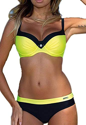 CROSS1946 Damen Elegant Bademode Push Up Zweiteiler Swimsuits Badeanzug Bikini-Set,Gelb,Large