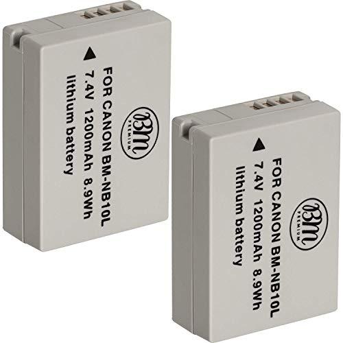 BM Premium (2 Pack) NB-10L Battery for Canon PowerShot G1 X, G3-X, G15, G16, SX40 HS, SX50 HS, SX60 HS Digital Camera