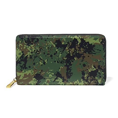 Militärische Ökostrom Reißverschluss Brieftasche Echtes Leder Geldbörse Kreditkarteninhaber für Frauen Telefon Mädchen Männer
