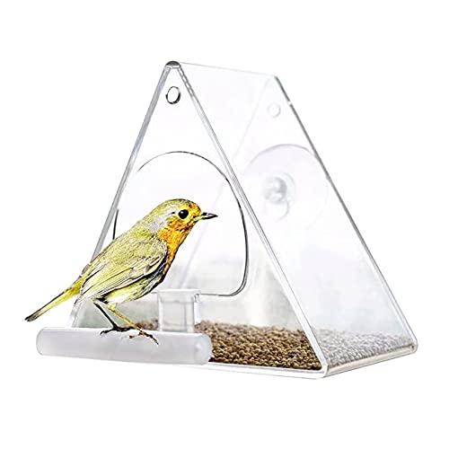 Vogelfutterhaus Vogelhaus Balkon Fenster Futterhaus für Vögel Dreieckige transparente Acryl Pet Box Vogelhäuschen Vogelhäuschen im Garten und Balkon Transparente Vogelhäuschen