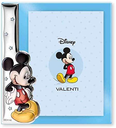 Disney Baby - Topolino Mickey Mouse - Cornice Porta Foto in Argento e Applicazioni 3D a Colori da Tavolo o Comodino per la Cameretta del Bambino perfetta come Idea Regalo Battesimo o Compleanno