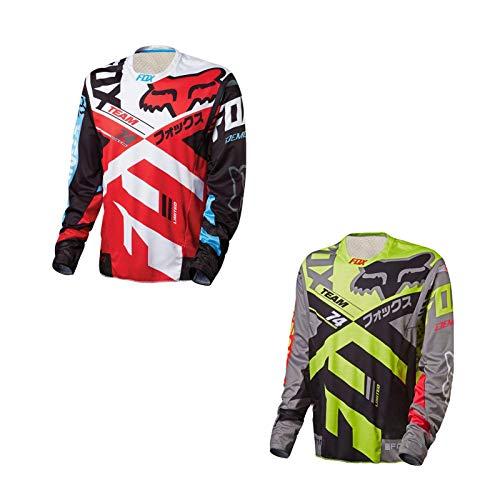 Motocross Jersey Men's Dirt Bike Riding Apparel Cycling Racing MTB Bike Racing Shirt Motorcycle Racewear (Red,3XL)