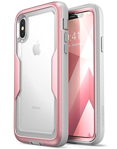 i-Blason Magma Series Case for iPhone X / iPhone Xs, [Heavy Duty Protection] [Clear Back] Shock Reduction/Full Body Bumper Case with Built-in Screen Protector (Rosegold)