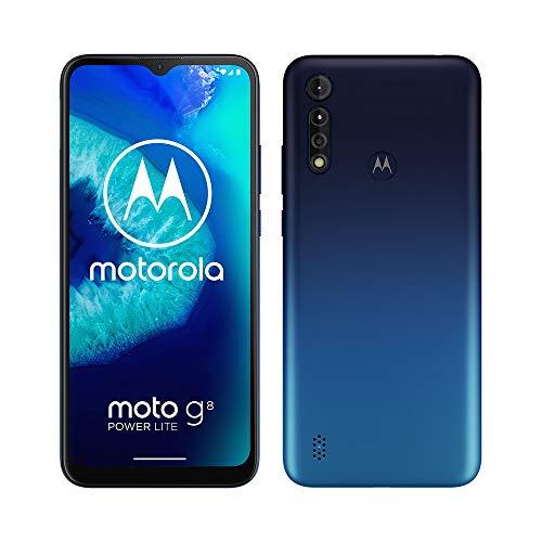 """Motorola Moto G8 Power Lite, Batteria 5000 mAh, Tripla Fotocamera 16MP, Display MaxVision 6,5"""", Processore Octa-Core, Dual SIM, 4/64GB Espandibile, Android 9, Cover Inclusa, Blue"""
