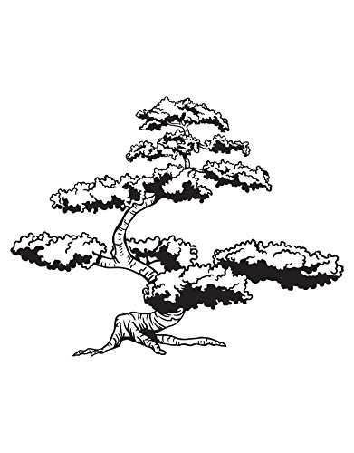 Asian Japanese Bonsai Tree Wall Decal Decor. Great Addition to an Asian Theme Room. (6ft Tall) (Black Color) 72in Tall x 92in Wide. #344A