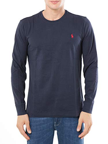 Ralph Lauren MOD. 710671468 T-Shirt Girocollo Manica Lunga Custom Fit Uomo Blu M
