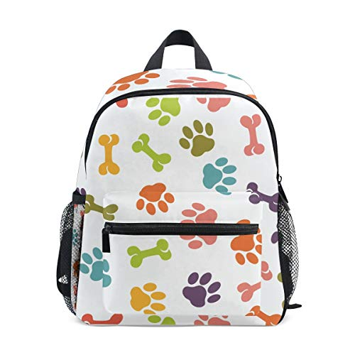Dog Paw Toddler Backpack Bookbag Mini Shoulder Bag for 1-6 Years Travel Boys Girls Kids with Chest Strap Clip Whistle