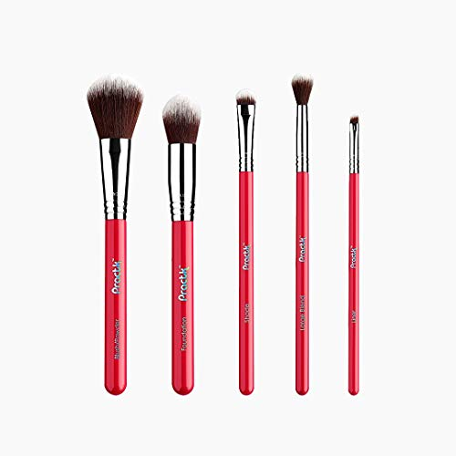 Practk Travel Essential 5 Pcs All-Star Full Face Makeup Brush Set for Blush, Concealers, Eye Shadows Contouring and Highlighting Applications