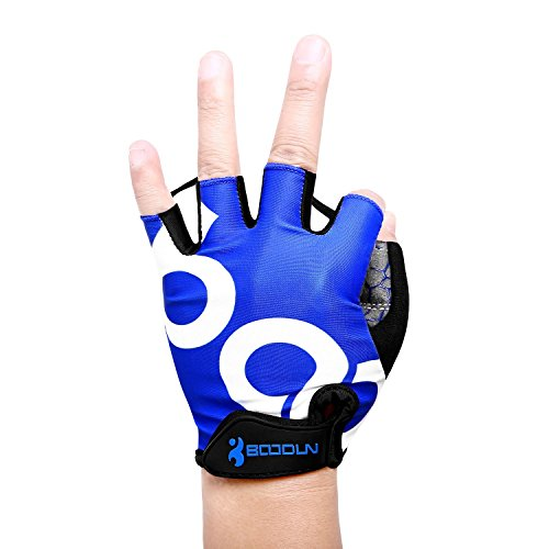 KONVINIT Fahrradhandschuhe Fingerlos Blaues Gummi Gepolstert Frauen & Herren Gym MTB Atmungsaktiv Rutschfestes Draussen Sport Gloves S by - 2
