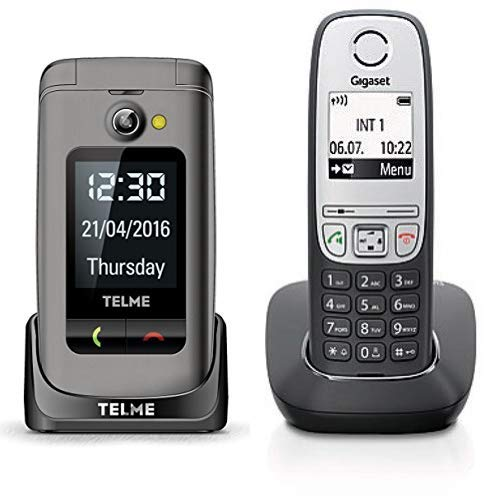 Emporia TellMe X200 Grosstasten-Klapphandy, Spacegrau & Gigaset A415 Telefon - Schnurlostelefon/Mobilteil mit Grafik Display - Dect-Telefon mit Freisprechfunktion Schwarz