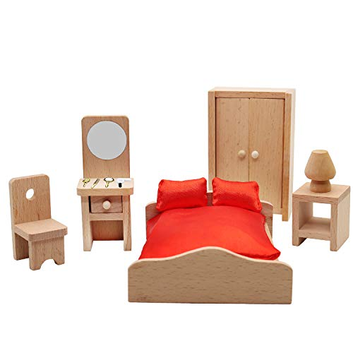 Warmtree Wooden Classic Doll House Furniture Wood Miniature Bedroom Set and Hair Styling Accessories Pretend Play House Furniture Dollhouse Decoration Accessories