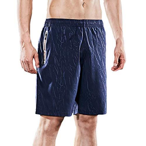 Xmiral Shorts Herren Sommer Kordelzug Einfarbig Draussen Training Shorts Sports Kurze Hose Fitness Beachshorts Mode Shorts(Blau,L)