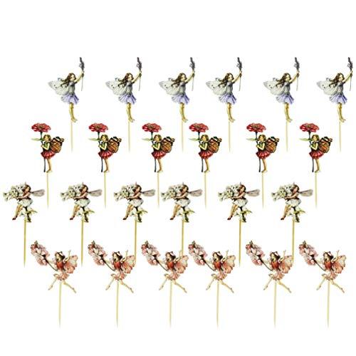 TOYANDONA 48 Unids Toppers de Pastel de Hadas Tinkerbell Cupcake Toppers Cumpleaños de Navidad Selecciones de Pastel de Bodas Selecciones de Frutas Decoraciones de Pastel de Fiesta de Hadas