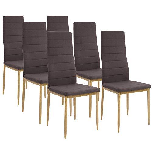 Albatros Esszimmerstühle SAN REMO 6-er Set Espresso/Braun, Stoffbezug, Bequem & Ergonomisch geformte Lehne, Küchenstühle