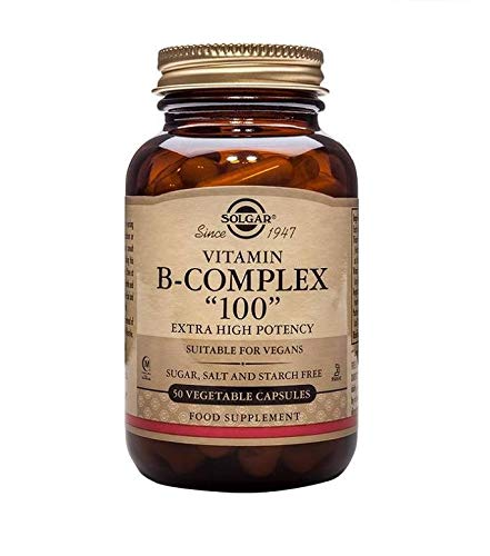 """Solgar B-Complex """"100"""", 50 Vegetable Capsules - Heart Health - Nervous System Support - Supports Energy Metabolism - Non GMO, Vegan, Gluten Free, Dairy Free, Kosher, Halal - 50 Servings"""