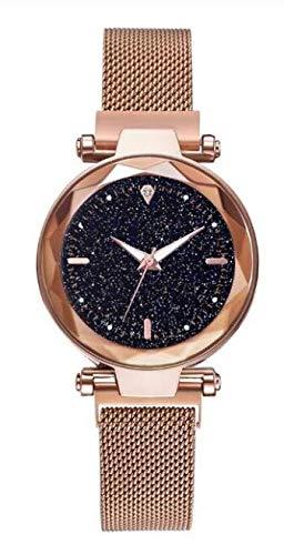 ALCENTIS – Reloj elegante para mujer malla milanesa rosa oro – Esfera analógica con fondo negro – 1 pequeños brillantes – Suave, sensual y romántico