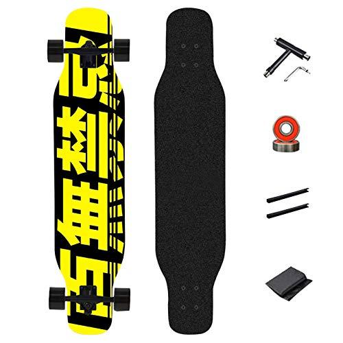 WRISCG Longboard Dancing Cruiser Skateboard Drop-Through Freeride Skating Cruiser Boards, 8 Strati di Acero, Cuscinetti a Sfera ABEC-9 High Speed, per Adulti Bambini Principianti, 107× 23cm,A
