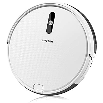 APOSEN A450 Robot Vacuum,1500Pa Strong Suction Robotic Vacuum Cleaner, Self-Charging Vacuum with XL Capacity Dustbin,Ultra-Quiet Ideal for Pet Hair and Low-Pile Carpets& Most Floor Types,White