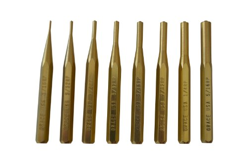 Grace USA - Gun Care Brass Roll Pin Punch Set - BRP8 - Gunsmithing - Brass Roll Pin Punches - 8 piece - Gunsmith Tools & Accessories