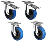 4er Set Industrierollen der Marke HRB, 125 mm Transportrollen blue wheels, 800 Kg Gesamttragkraft der Schwerlastrollen (4er Set 125mm)