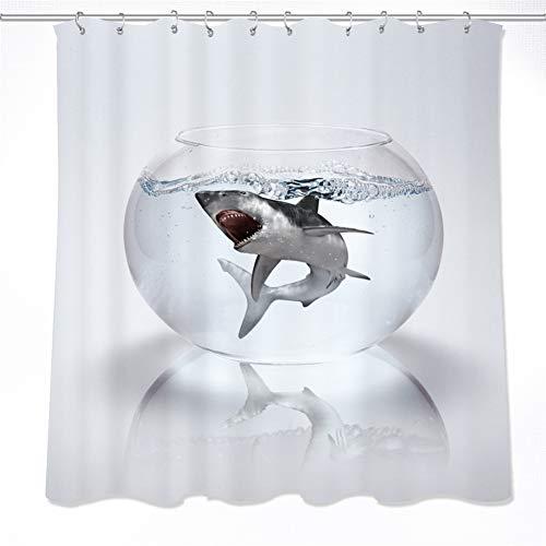ZZZdz De Hai is in het aquarium. Douchegordijn. 180 x 180 cm. 12 vrije haken. Huisdecoratie. 3D Hd-druk. Eenvoudig te reinigen. Badkameraccessoires.