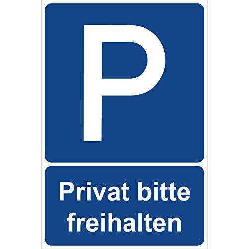 Parkplatzschild Privat Bitte freihalten Parken Schild Blau 30 x 20 x 0,3 cm Kunststoff Parkplatzmakierung Parken Parkplatzschilder Parkplatz Hinweisschild, Verbotsschild, Parkplatz Freihalten