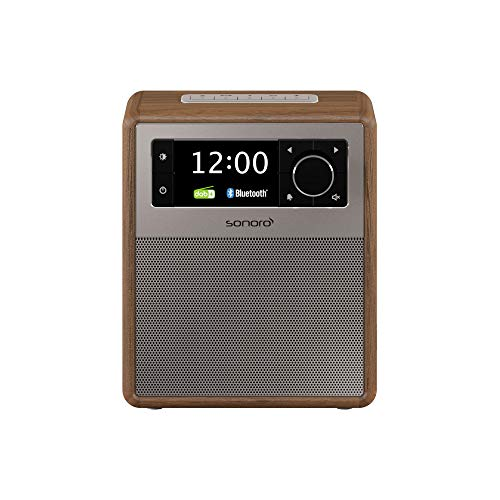 sonoro Easy tragbares Design Radio (UKW/FM/DAB+, AUX-in, USB, Bluetooth, Wecker, Akku/Netzbetrieb) Walnuss (2020)