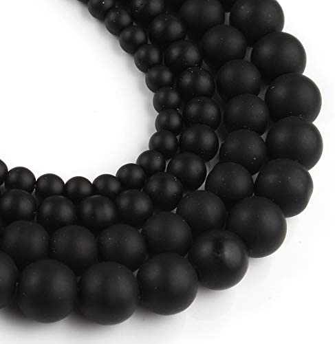 Yochus 8mm Black Matte Onyx Agates Round Loose Beads Frost Dull Polish Agat Beads for Jewelry product image
