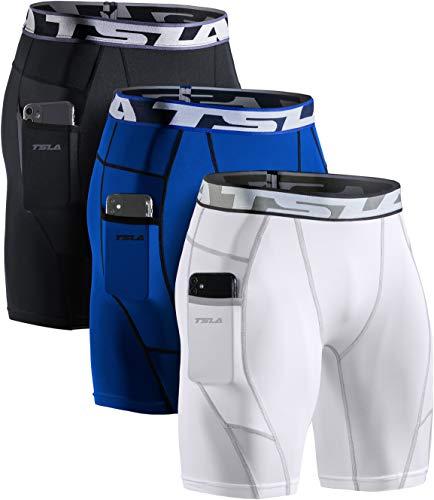 TSLA Ropa interior de compresión Dri Fit para hombre, pantalones cortos deportivos, Hombre Mujer Niños Niñas, Mus74 - Pack de 3 unidades, color negro, blanco y azul, extra-large