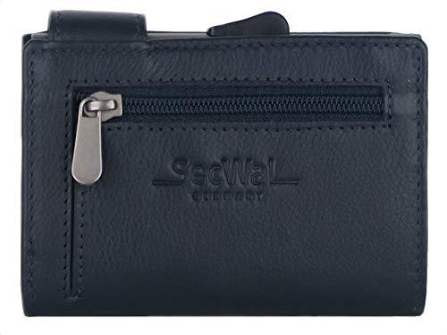 SecWal Kartenetui mit Münzfach Reißverschluss - Echtleder Mini Geldbörse inkl. E-Book für Damen und Herren - RFID Schutz Portemonnaie Leder - Geldbeutel klein (Blau)