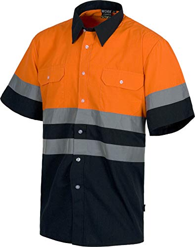 WorkTeam Camisa Manga Corta combinada Alta Visibilidad, con 2 Bolsos de Pecho y con Cintas Reflectantes. Hombre Marino+Naranja A.V. 54