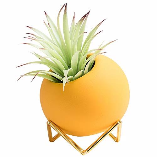 Klein Desktop Sukkulenten Blumentöpfe Keramik Eulen Blumentöpfe Container, Kaktus Pflanzgefäße mit Metall gestell