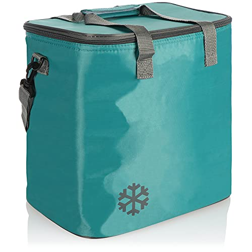 com-four® Bolsa Nevera - Caja térmica Plegable con Correa de Transporte - Bolsa Aislante clásica para Picnic, Camping, Playa, Exteriores (01 Pieza - Turquesa - 18l)