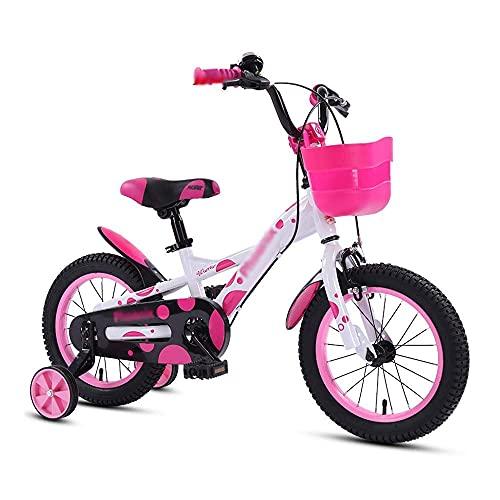 N&I Bicicletas para niños con cesta 4 colores 12/14/16 pulgadas Bicicletas para niños y niñas absorción de golpes doble freno bicicleta carretera naranja 16 pulgadas