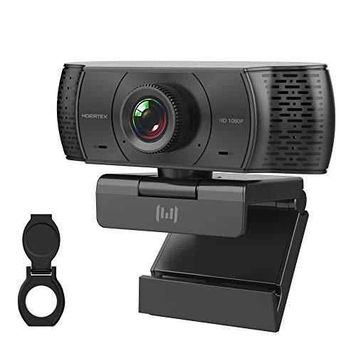 MOERTEK MC920 Webcam 1080P Full HD con Micrófono y Cubierta de Privacidad, Enfoque Fijo sin Distorsión, Plug and Play Web Cámara, para Videollamadas, Transmisión en Streaming y Aprender