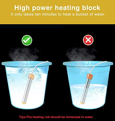 ANDRIMAX Immersion Heater for Boiling Bath Water, Heavy Duty Submersible Water Heater with Metal Guard Cover to Heat 5 Gallons of Water in Minutes - U.S. Version