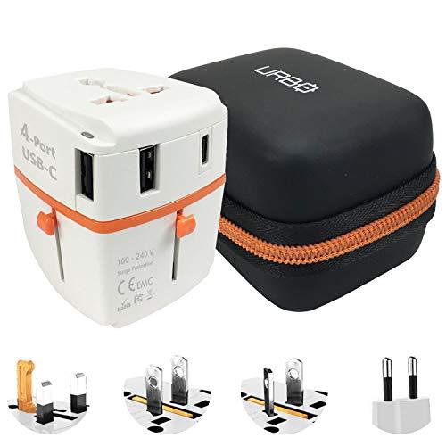 Urbo Adaptador de Viaje con Diseño Desmontable y Puertos USB-A y 1 Puerto USB-C + Clavijas Retráctiles para Tomas de Corriente en Más de 100 Países de Europa, Asia, América, África y Oceanía