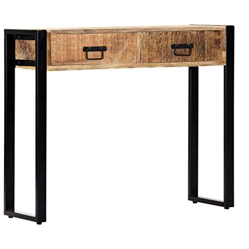 Tidyard Table Console (avec 2 tiroirs) en Bois de Manguier Massif Durable et Solide Style Industriel 90 x 30 x 75 cm